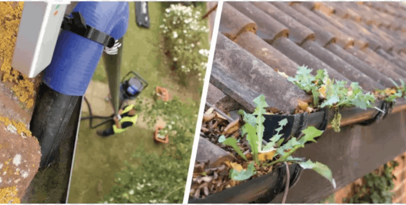 gutter cleaning with cleaners cleaning of the gutters